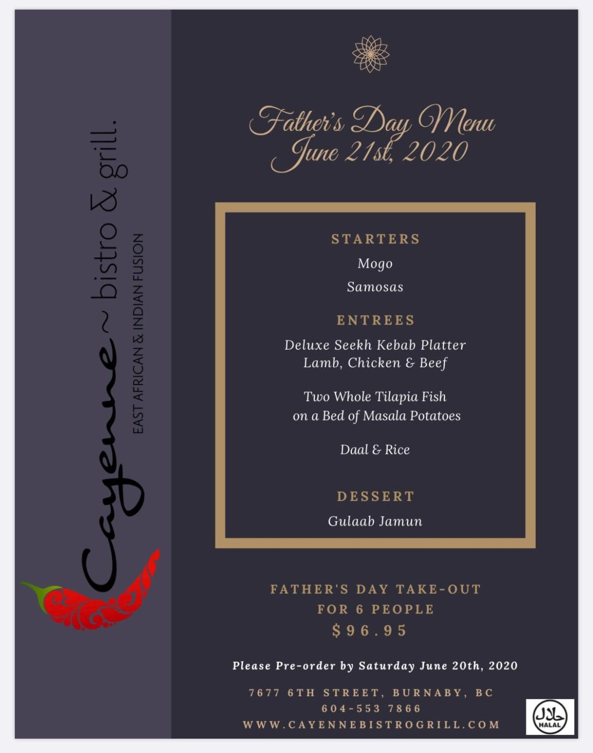Fathers Day Special Menu