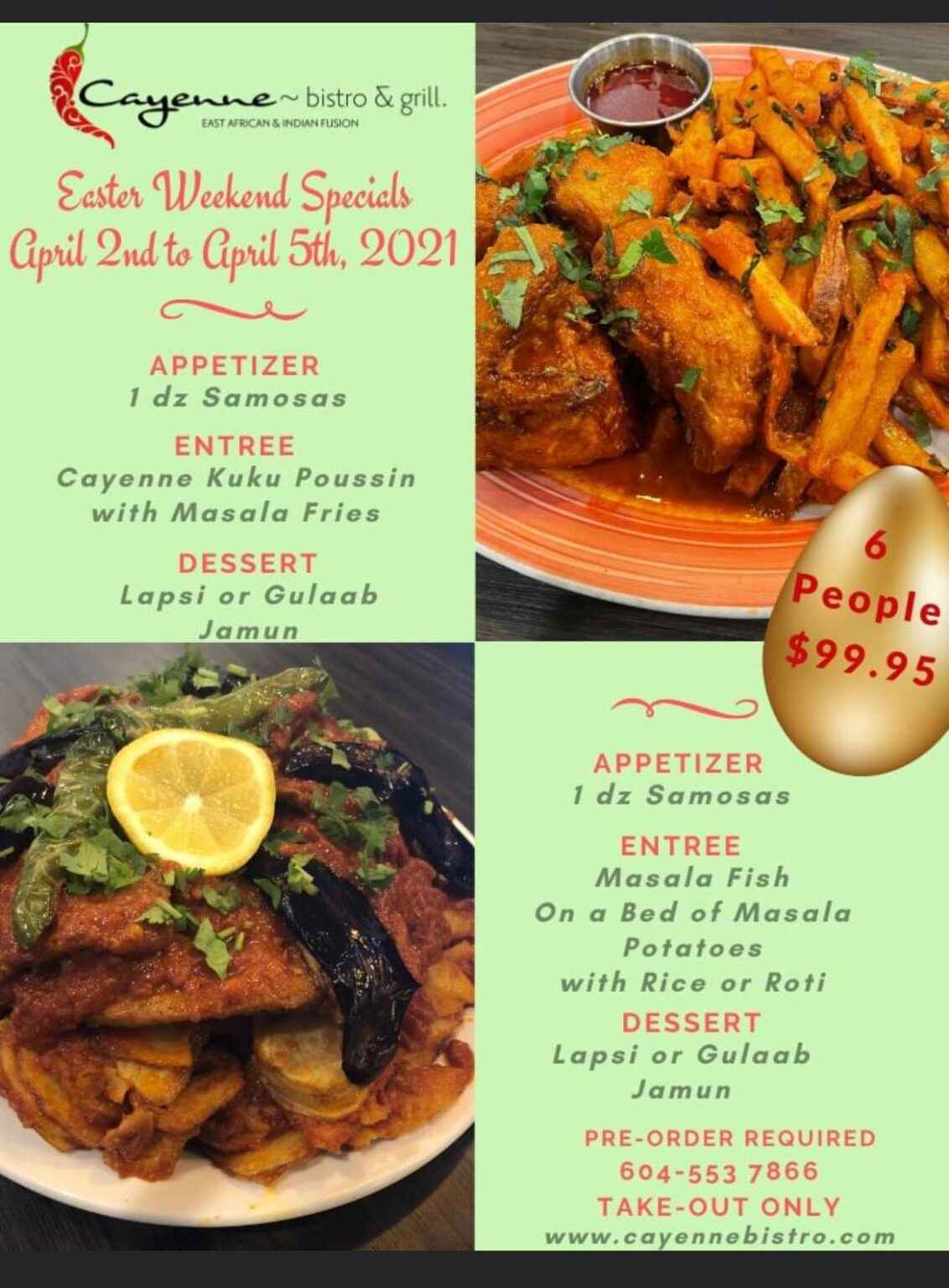 Cayenne Bistro Easter Weekend Special